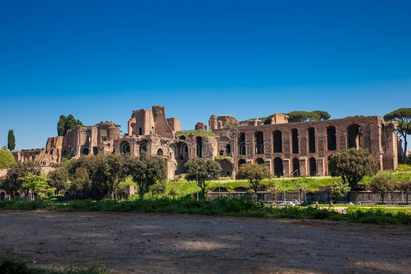 Temple of Apollo Palatinus on Palatine Hill of ancient Rome and Circus Maximus. The Temple of Apollo Palatinus on Palatine Hill of ancient Rome and Circus royalty free stock photo