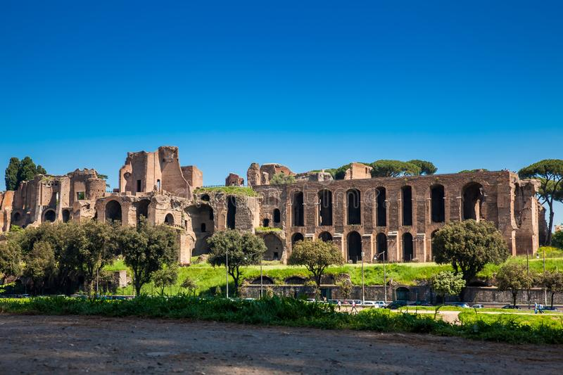 Temple of Apollo Palatinus on Palatine Hill of ancient Rome and Circus Maximus. The Temple of Apollo Palatinus on Palatine Hill of ancient Rome and Circus stock photo