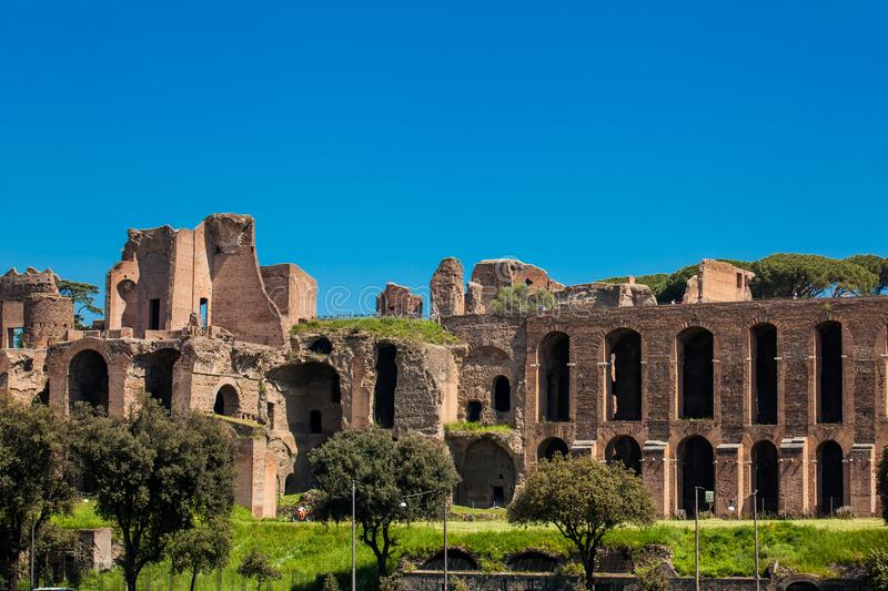 Temple of Apollo Palatinus on Palatine Hill of ancient Rome and Circus Maximus. The Temple of Apollo Palatinus on Palatine Hill of ancient Rome and Circus stock image