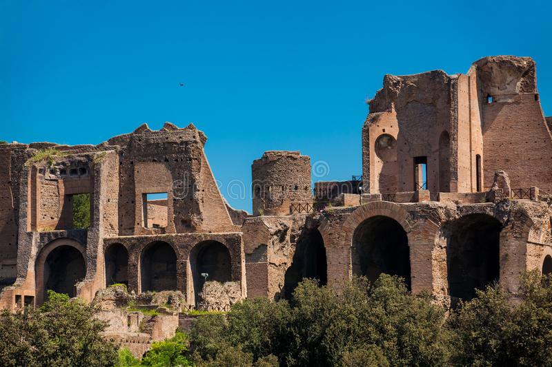 Temple of Apollo Palatinus on Palatine Hill of ancient Rome and Circus Maximus. The Temple of Apollo Palatinus on Palatine Hill of ancient Rome and Circus royalty free stock images