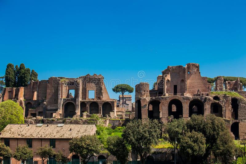 Temple of Apollo Palatinus on Palatine Hill of ancient Rome and Circus Maximus. The Temple of Apollo Palatinus on Palatine Hill of ancient Rome and Circus stock photos