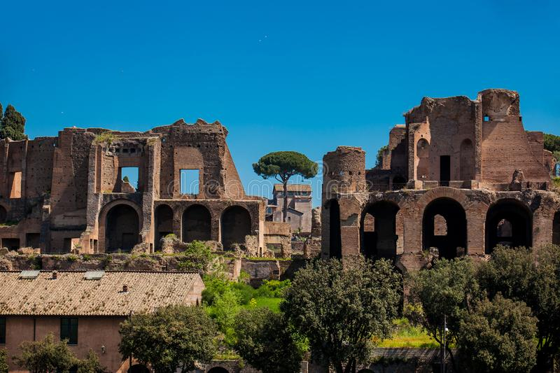 Temple of Apollo Palatinus on Palatine Hill of ancient Rome and Circus Maximus. The Temple of Apollo Palatinus on Palatine Hill of ancient Rome and Circus stock images