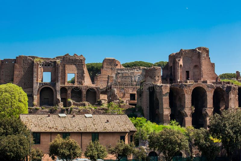 Temple of Apollo Palatinus on Palatine Hill of ancient Rome and Circus Maximus. The Temple of Apollo Palatinus on Palatine Hill of ancient Rome and Circus royalty free stock photography