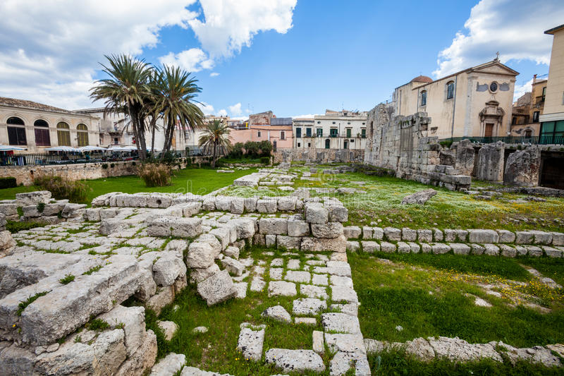 Temple of Apollo (Syracuse). The Temple of Apollo is one of the most important ancient Greek monuments on Ortygia, in front of the Piazza Pancali in Syracuse stock image