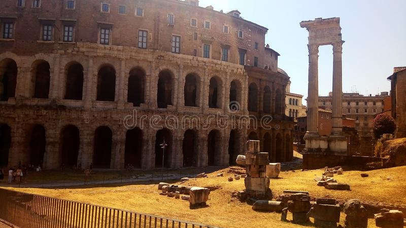 Temple of Appolo Medicus Sosianus and Theatre of Marcellus stock photography