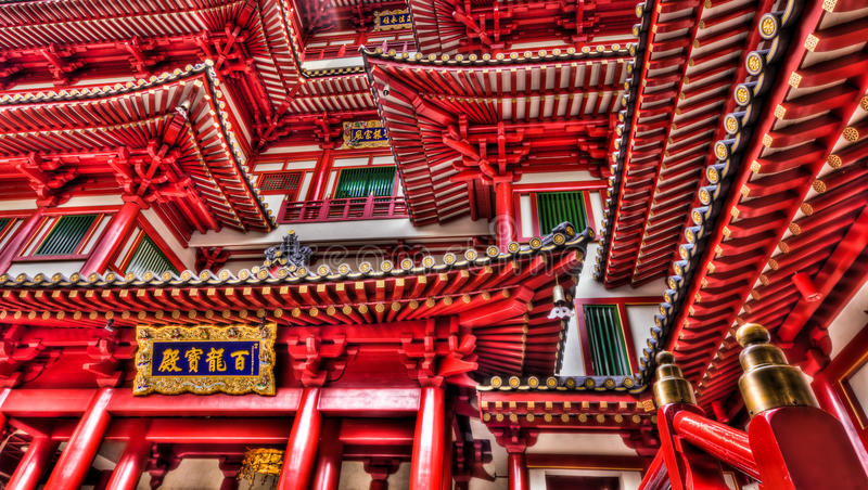 Temple Architecture. The facade of and entrance to a Buddhist temple in Chinese architectural style, in Chinatown, Singapore stock image