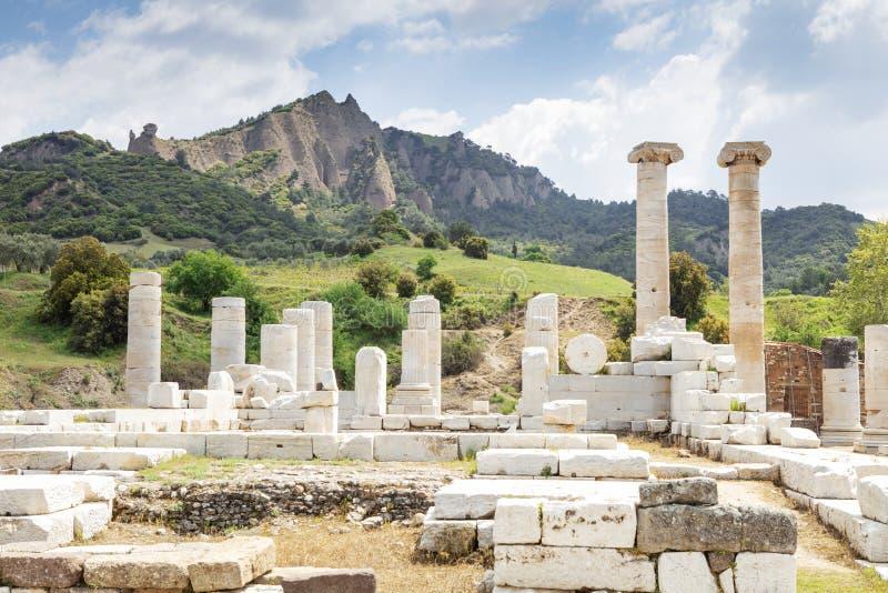 The Temple Of Artemis At Sardis. Salihli, Manisa - TURKEY. Ruins of the temple of Artemis in the ancient 2nd Century Lydian capital of Sardis stock image