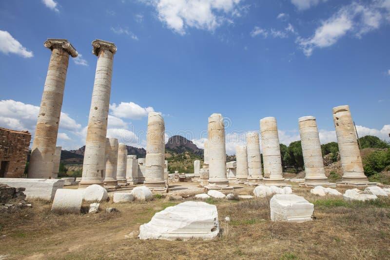 The Temple Of Artemis At Sardis. Salihli, Manisa - TURKEY. Ruins of the temple of Artemis in the ancient 2nd Century Lydian capital of Sardis royalty free stock photography