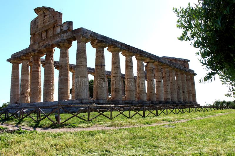 The temple of atena - paestum royalty free stock photography