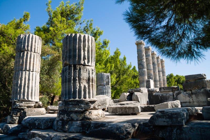 Temple of Athena ruins in Priene, Turkey stock photos