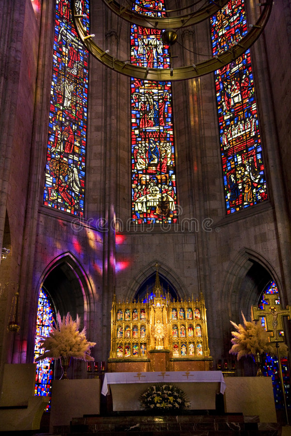 Temple of Atonement Stained Glass Altar Close. Temple of Atonement, Templo Expiatorio, Guadalajara, Mexico Inside View with stained glass windows and altar close stock images