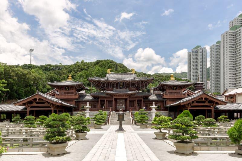 Temple au Chi Lin Nunnery et Nan Lian Garden en Hong Kong images stock