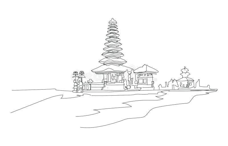 Temple au-dessus du lac illustration de vecteur