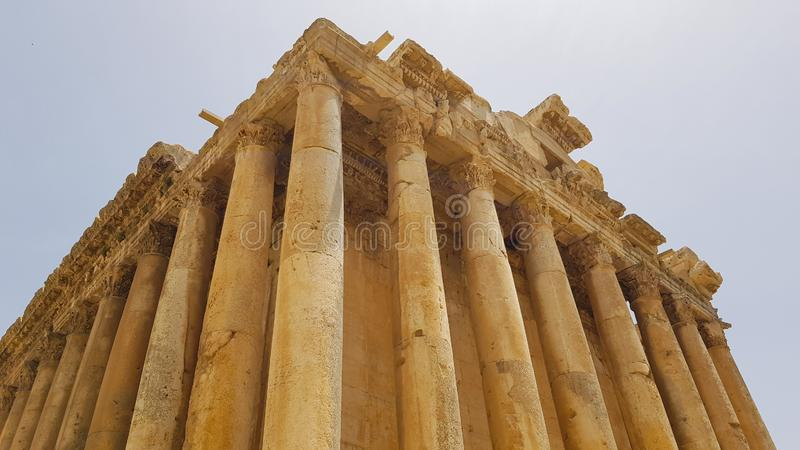 The Temple of Bacchus. The ruins of the Roman city of Heliopolis or Baalbek in the Beqaa Valley. Baalbek, Lebanon. The Temple of Bacchus. The ruins of the Roman royalty free stock photography