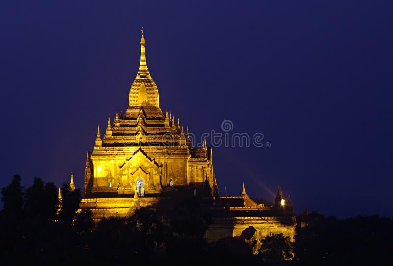 Temple of Bagan at night. Myanmar (Burma). royalty free stock images