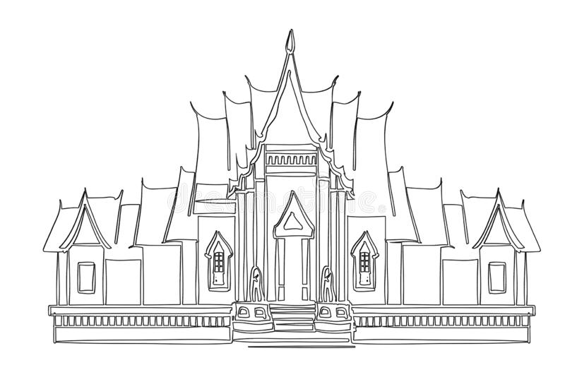 Temple in bangkok thailand. illustration design. Buggha, drawing, retro, black, monochrome, new, hand, drawn, creative, landmark, asia, pray, flat, amazing royalty free stock image