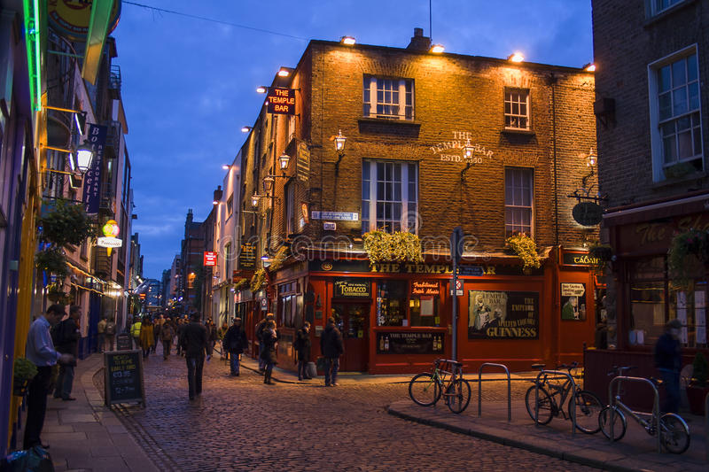 Temple bar area in Dublin stock images