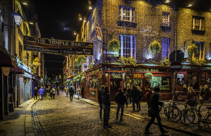 Temple Bar district in Dublin with christmas decoration royalty free stock image