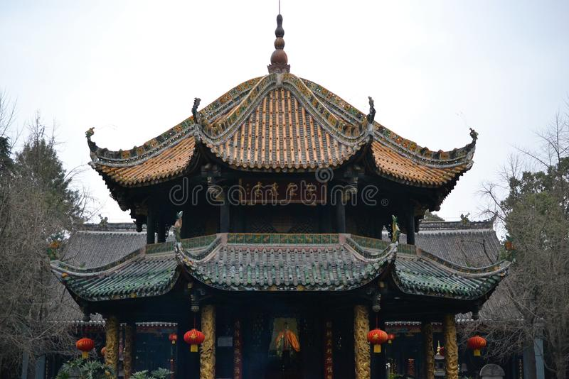 Temple in Beatiful old town of Chengdu, Sichuan, China stock photography