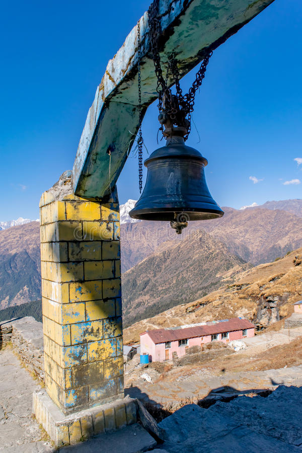 Temple bell. Of highest Lord Shiva temple Tungnath near Chopta uttrakhand royalty free stock images