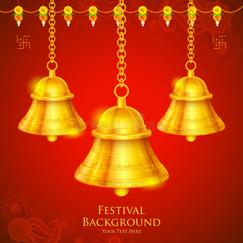 Temple Bell. Illustration of temple bell hanging on festival background vector illustration