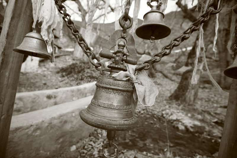 Temple bells in muktinath, annapurna. Nepal stock images