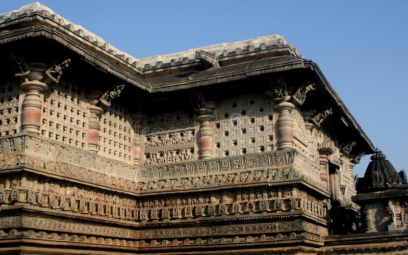 Temple in Belur stock photo