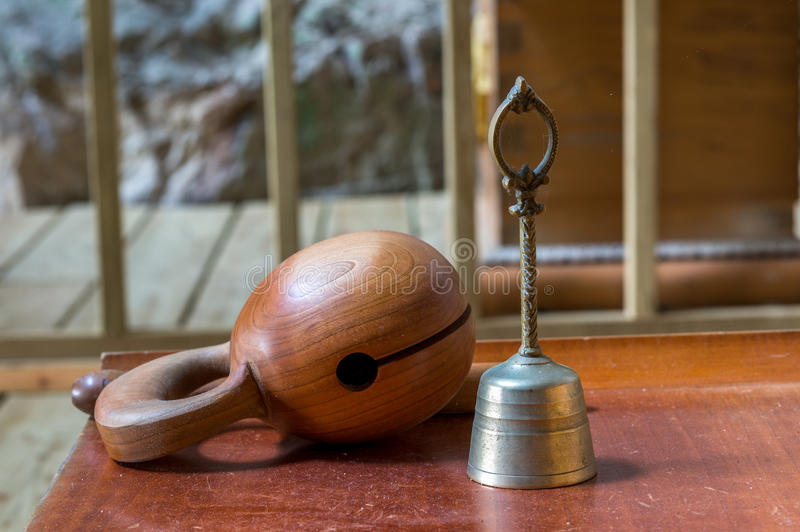 Temple block and bell royalty free stock images