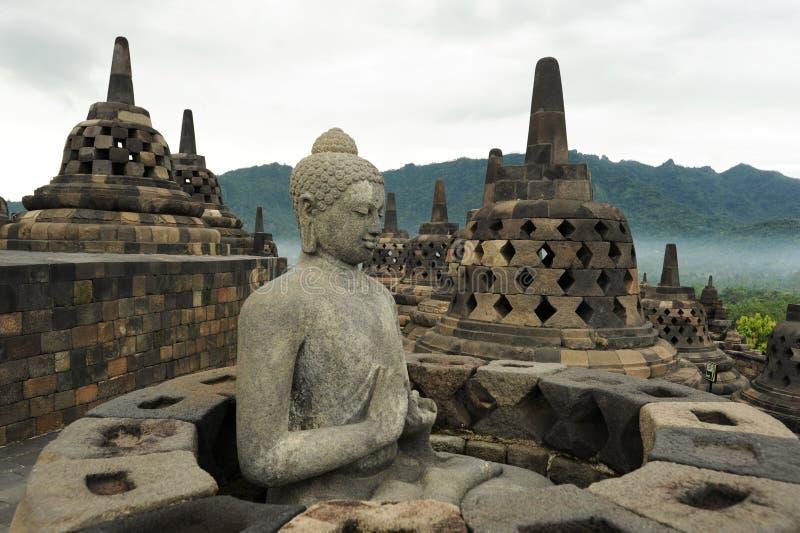 Temple bouddhiste de Borobudur sur l'île de Java images stock