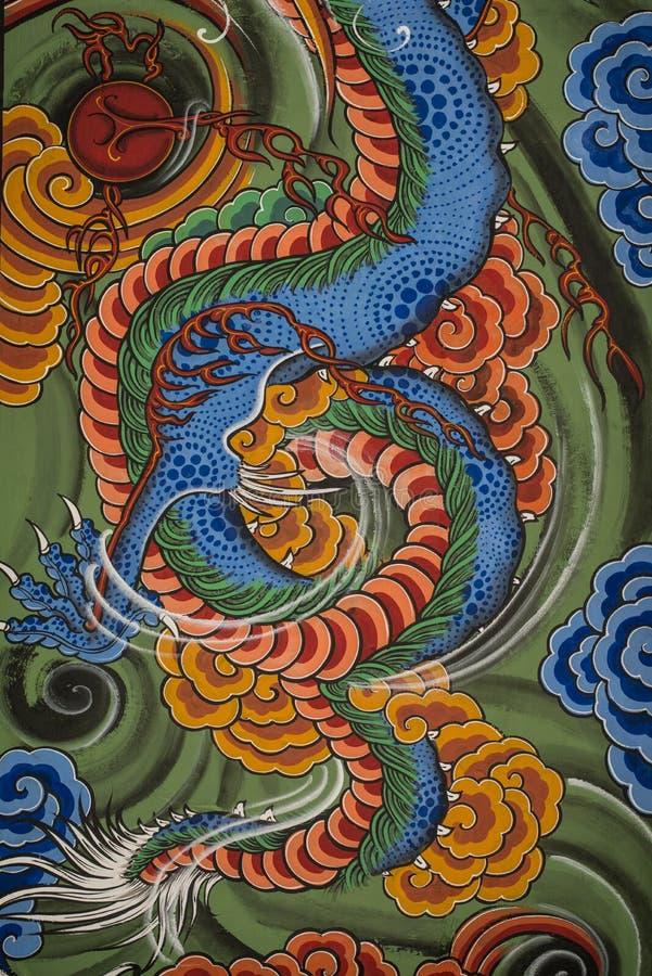 Temple bouddhiste de peinture en Corée du Sud photos stock