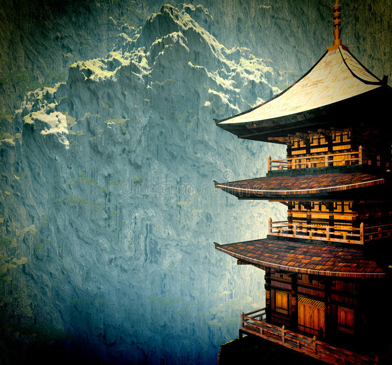 Temple bouddhiste de zen illustration de vecteur