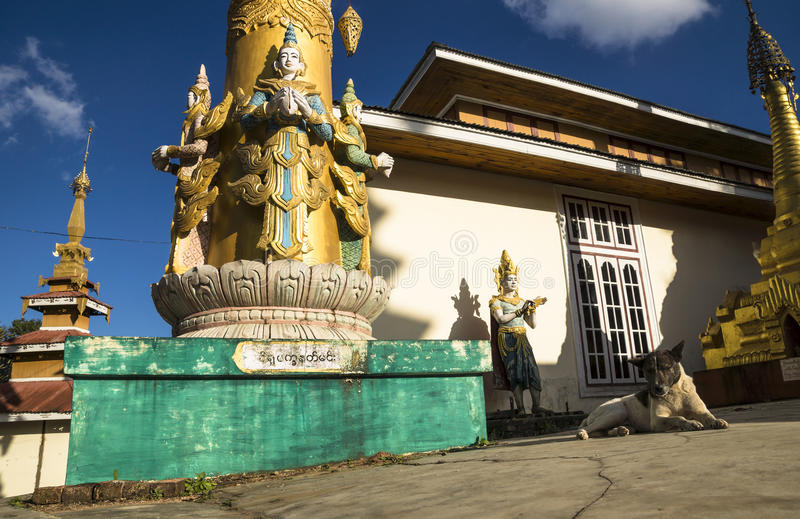 The temple, the buddha, its shadow and the dog. In Kalaw, Myanmar royalty free stock photo