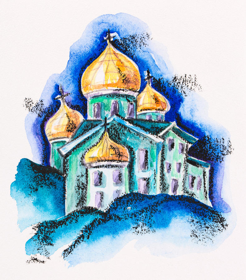 Temple building with golden cupola. Watercolor with slate-pencil painting stock illustration