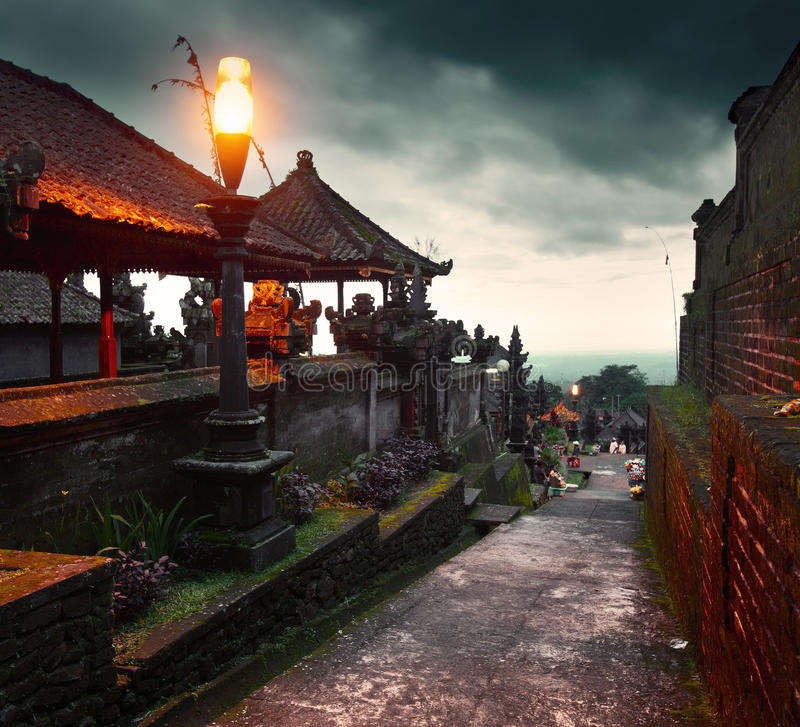 Temple. Buildings in a largest Balinese temple Pura Besakih at twilight. Indonesia royalty free stock photo