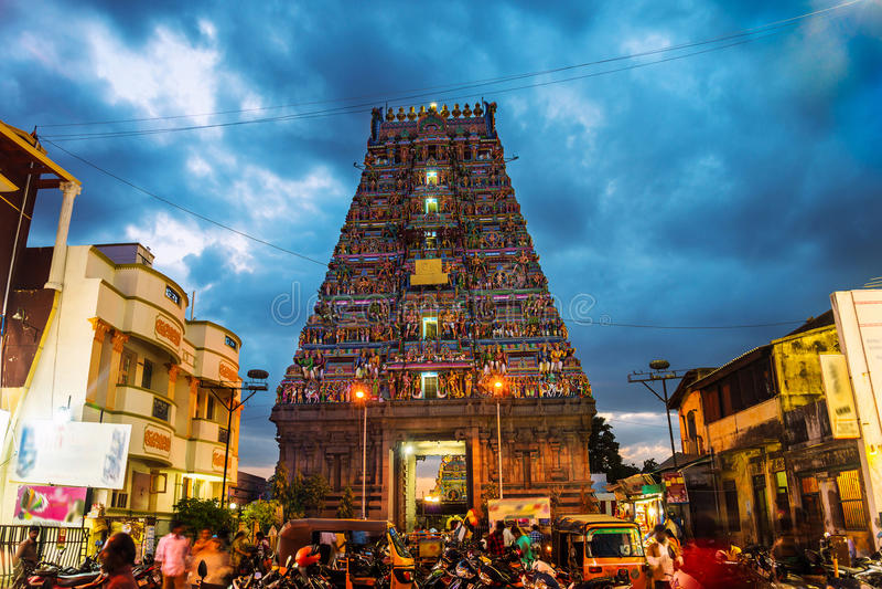 Temple célèbre d'Arulmigu Kapaleeswarar dans Chennai, Inde photo stock