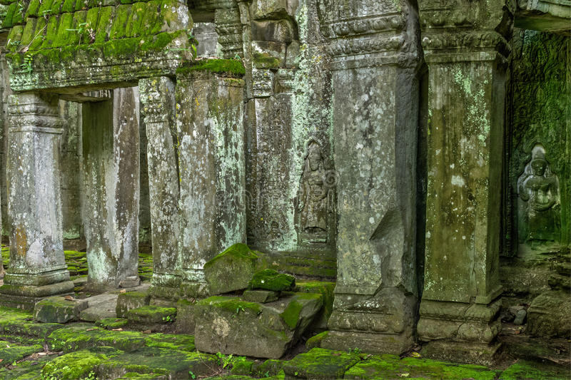 Temple in the Cambodian Jungle. The Angkor complex is extensive and inspiring stock photo