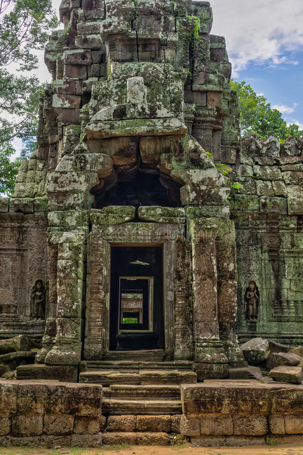 Temple in the Cambodian Jungle. The Angkor complex is extensive and inspiring royalty free stock image