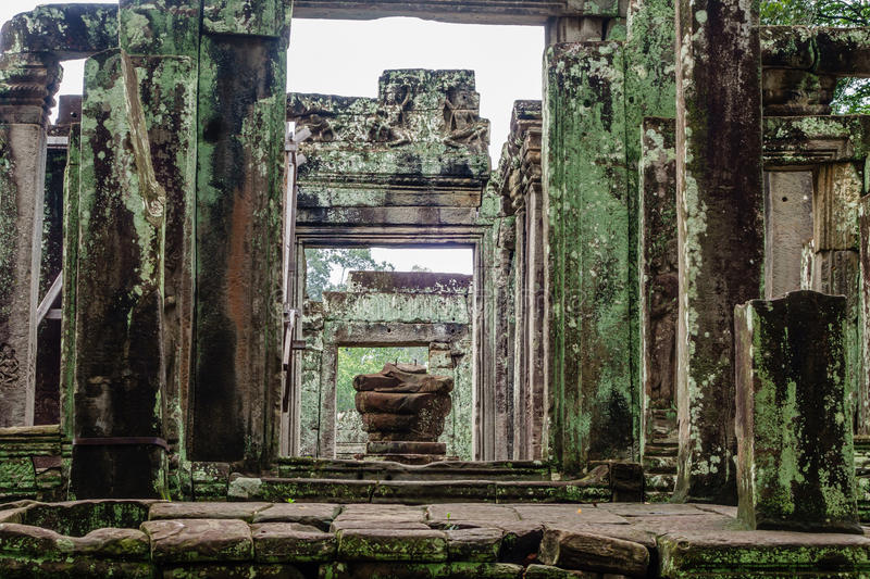 Temple in the Cambodian Jungle. The Angkor complex is extensive and inspiring stock photography