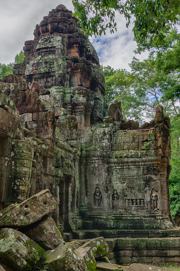 Temple in the Cambodian Jungle. The Angkor complex is extensive and inspiring stock image
