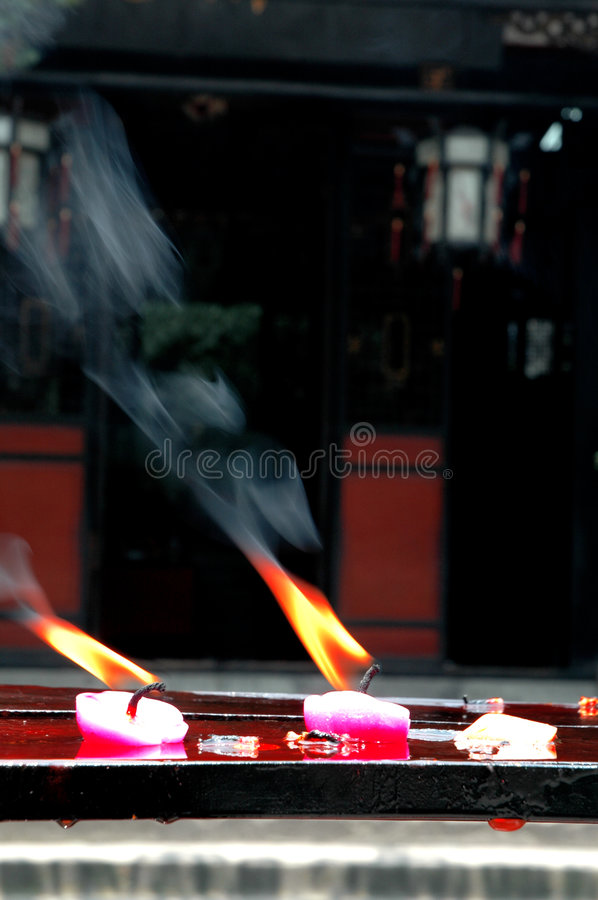 Temple Candles stock photo