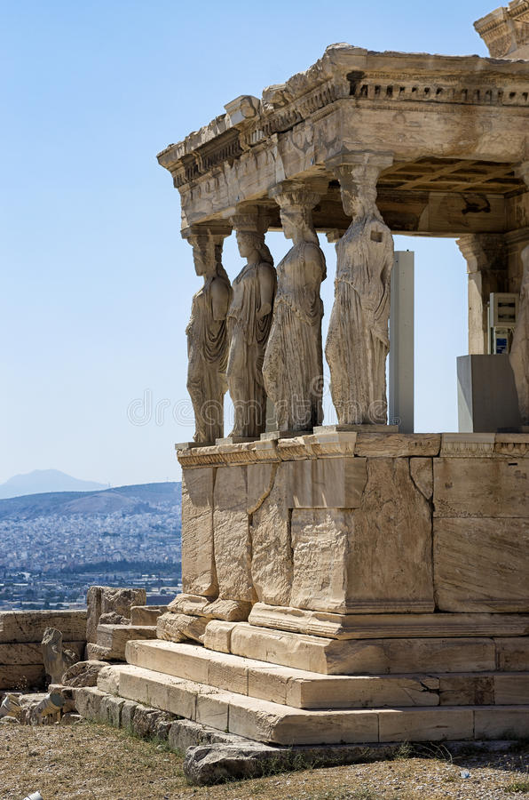 The temple with the Caryatids in the Acropolis, Greece. The temple with the Caryatids in the Acropolis, Athens, Greece royalty free stock images