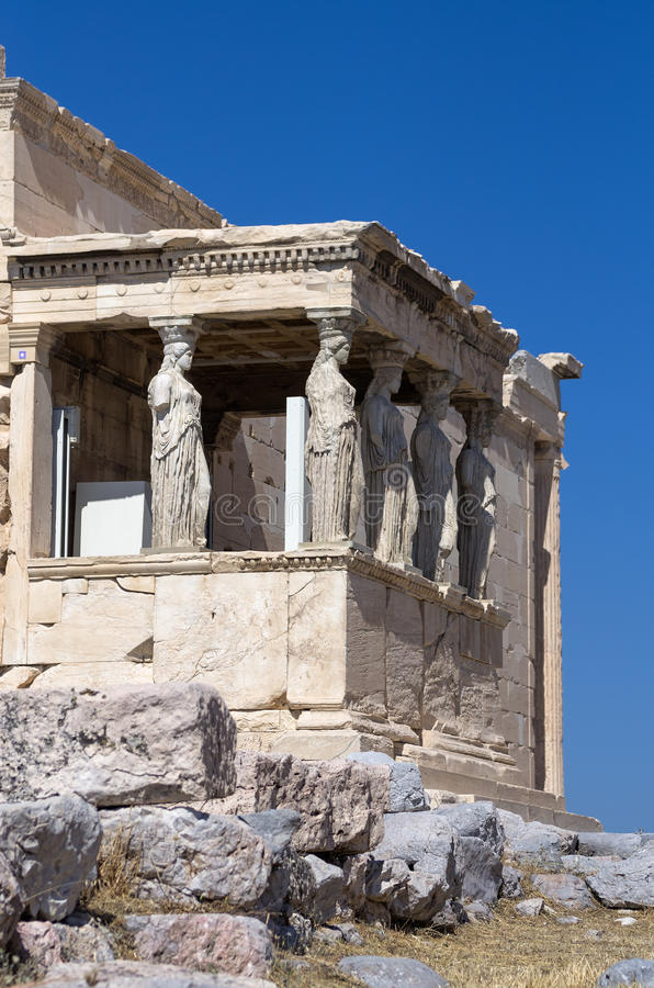 The temple with the Caryatids in the Acropolis, Greece. The temple with the Caryatids in the Acropolis, Athens, Greece stock photos