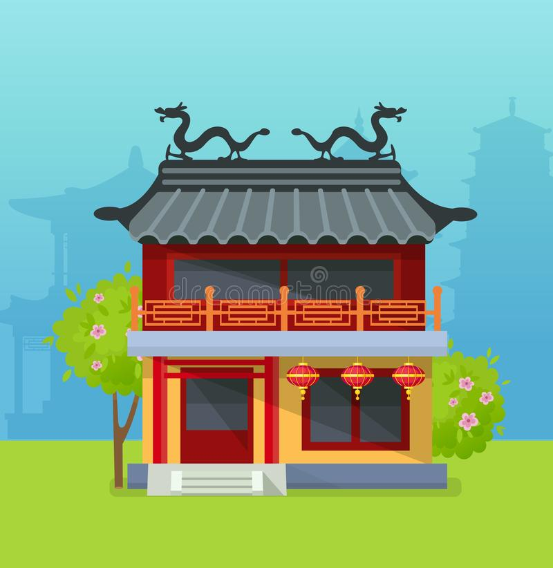 Temple china typical Chinese building town design. House urban city landscape. Travel to China traditional chinese townscape of street with pagoda and lanterns royalty free illustration