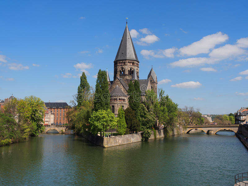Temple Church in Metz With River Moselle