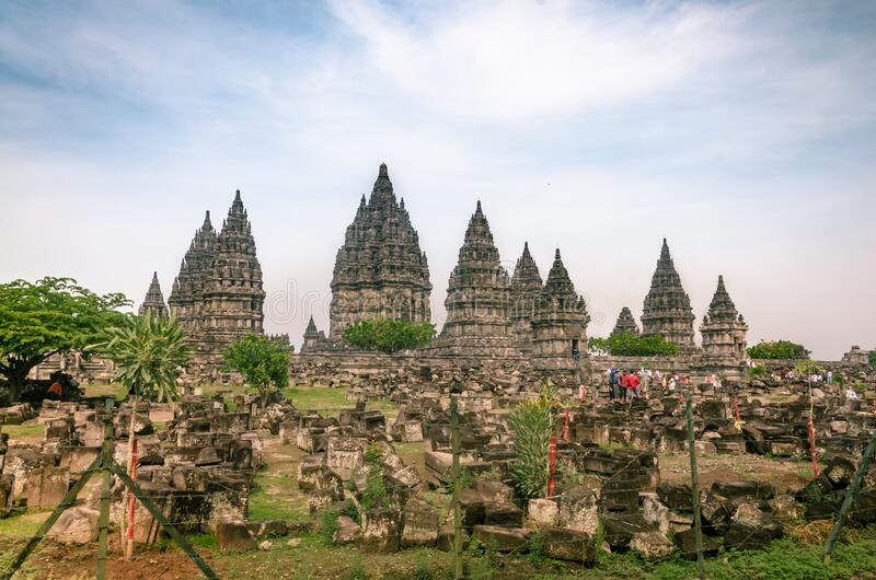 Temple Complex di Prambanan, o Rara Jonggrang, a Yogyakarta, Indonesia, il 26 dicembre 2019 immagine stock libera da diritti