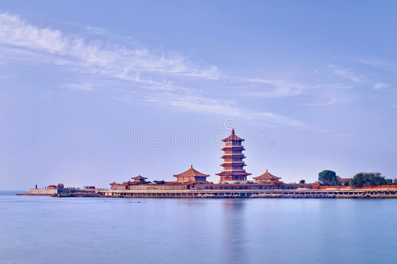 Temple complex on a peninsula with Pagoda, Penglai, China. Famous temple complex on a peninsula with Pagoda, Penglai, China royalty free stock images