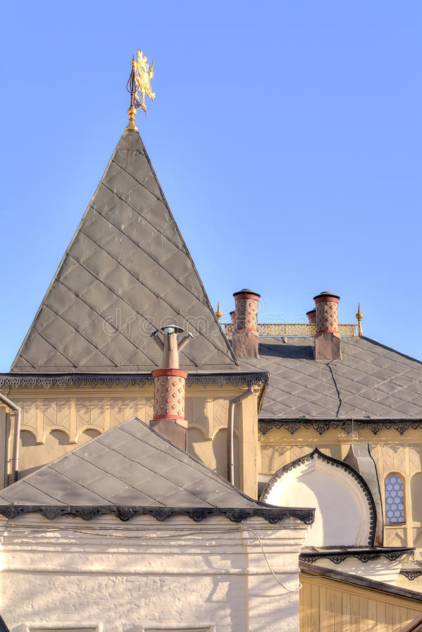 Temple complex in Zaryadye. Roofs of old buildings in the museum complex in Moscow stock photos