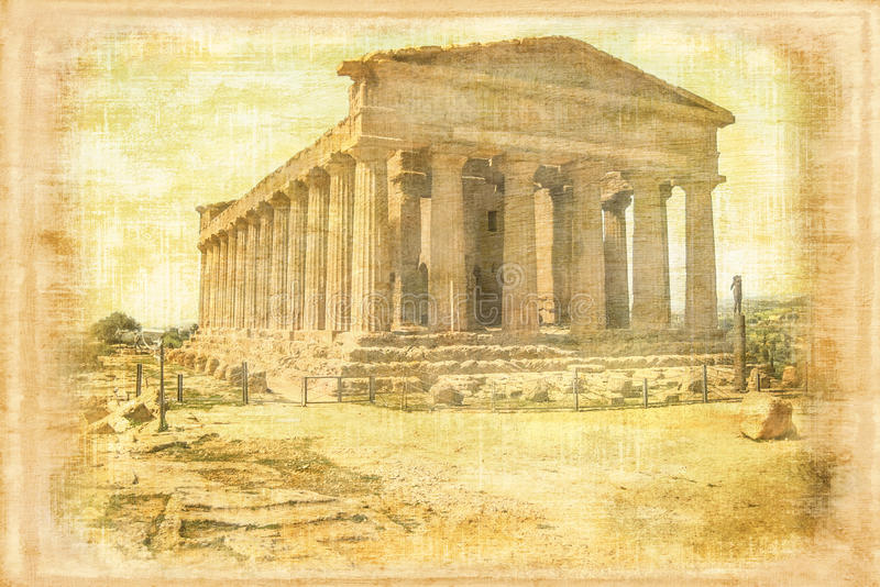 Temple of Concord. Agrigento. Italy. Temple of Concord (Concordia). Agrigento. Italy the greek temple was once converted into a christian church. vintage style stock photography