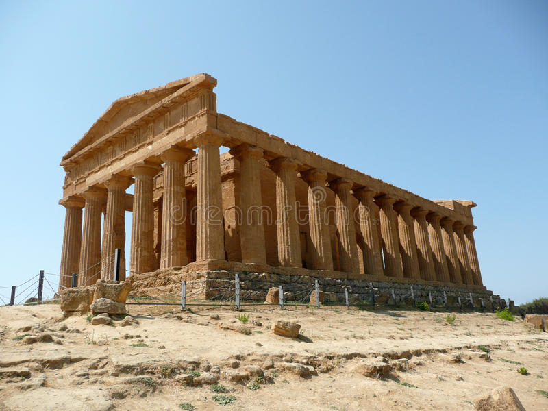 The Temple of Concordia, Agrigento, Italy. Summer royalty free stock photos