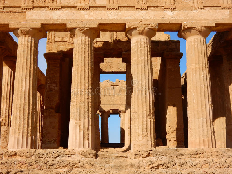Temple of Concordia an ancient Greek temple in the Valley of the Temples - Agrigento - Sicily. Detail Temple of Concordia an ancient Greek temple in the Valley stock photos